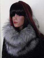 Faux Fur Scarf Snood in Grey and White 'Husky' Fur